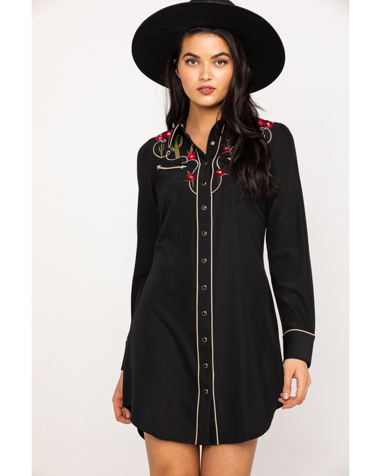 Roper Women's Cactus and Floral Embroidered Shirt Dress, Black, hi-res