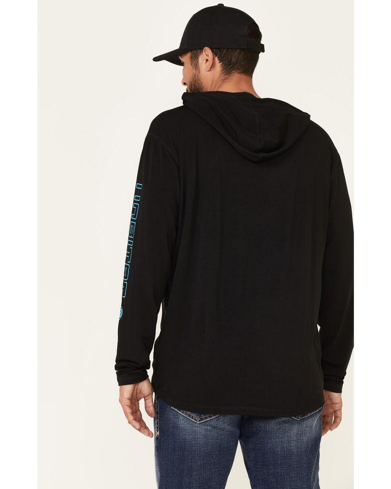 HOOey Men's Black Captain Bamboo Logo Long Sleeve Hooded T-Shirt , Black, hi-res