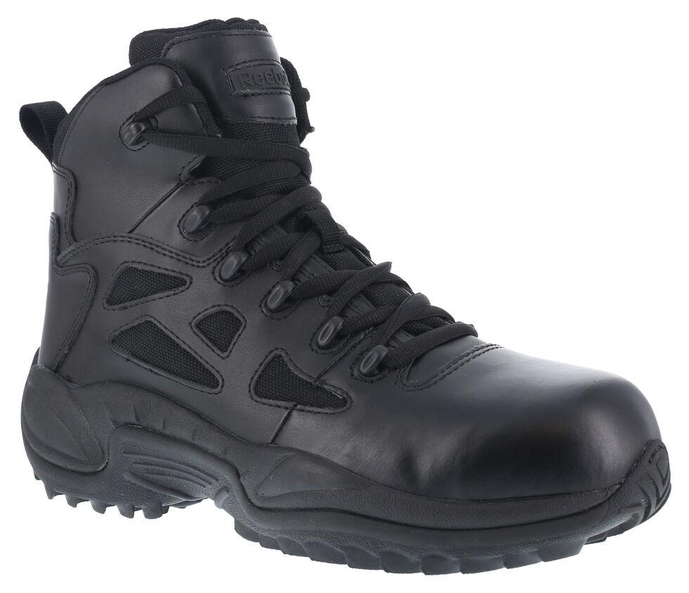 "Reebok Women's Stealth 6"" Lace-Up Side Zip Work Boots - Composite Toe, Black, hi-res"