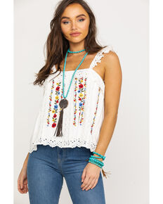 Miss Me Women's Ivory Floral Embroidered Ruffle Top, White, hi-res