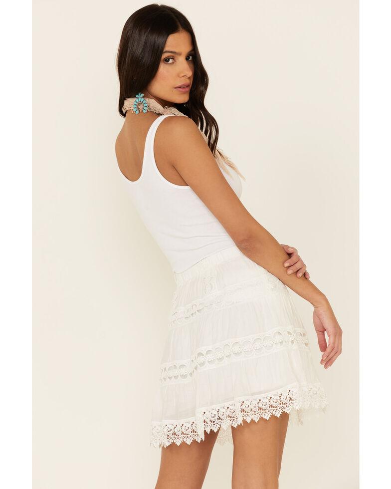 Elan Women's Tiered Crochet Mini Skirt, White, hi-res