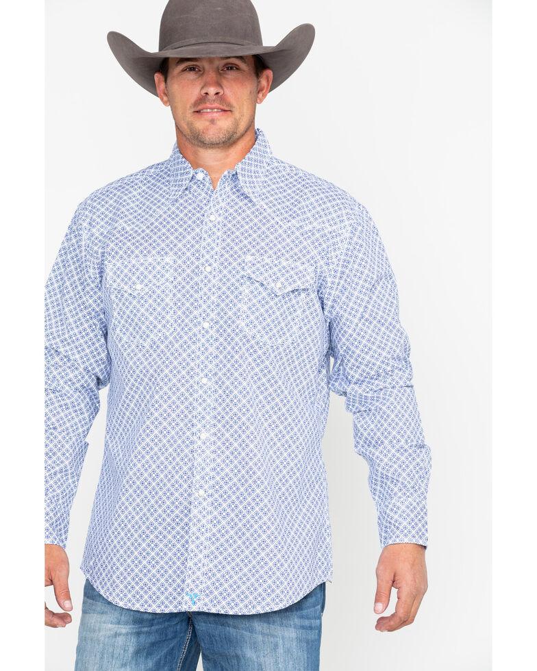 Wrangler 20X Men's Diamond Geo Advanced Comfort Long Sleeve Western Shirt, Blue/white, hi-res