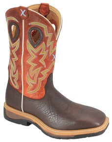Twisted X Orange Lite Cowboy Work Boots - Steel Toe, Brown, hi-res