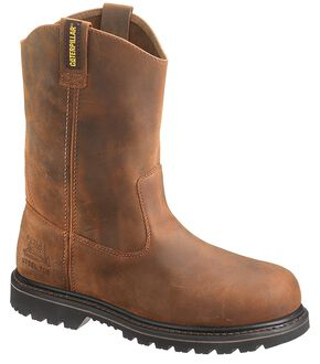Caterpillar Edgework Pull-On Work Boots - Steel Toe, Mahogany, hi-res