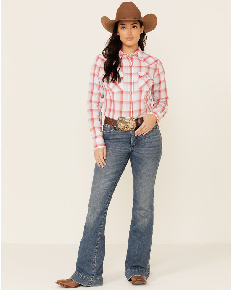 Wrangler Women's Red Large Plaid Long Sleeve Snap Western Core Shirt , Red, hi-res