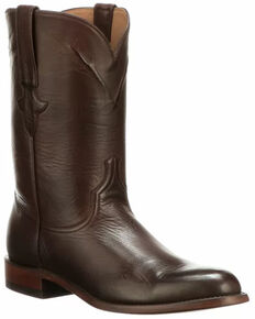 Lucchese Men's Brown Burn Western Boots - Round Toe, Lt Brown, hi-res