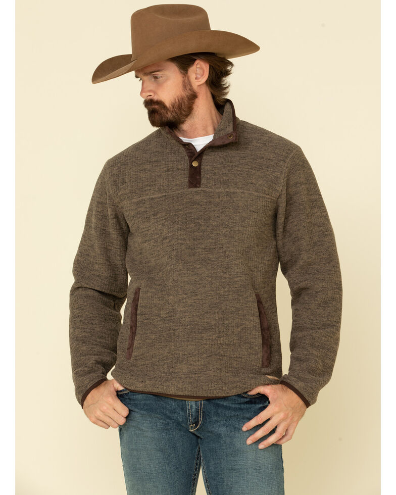 Powder River Outfitters Men's Taupe Heather Fleece Pullover Sweatshirt , Taupe, hi-res