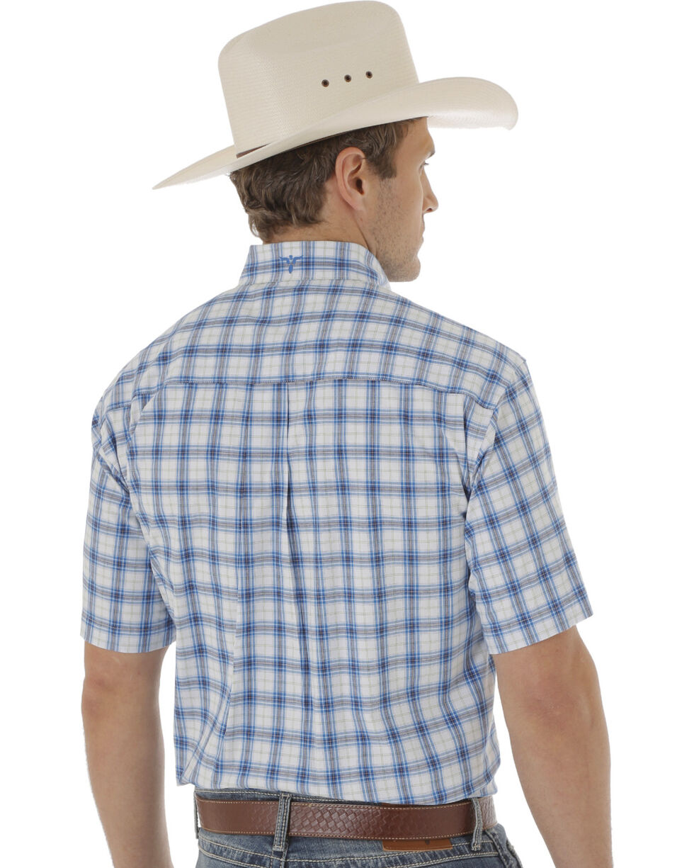 Wrangler 20X Men's Blue and White Plaid Short Sleeve Western Shirt , Blue, hi-res