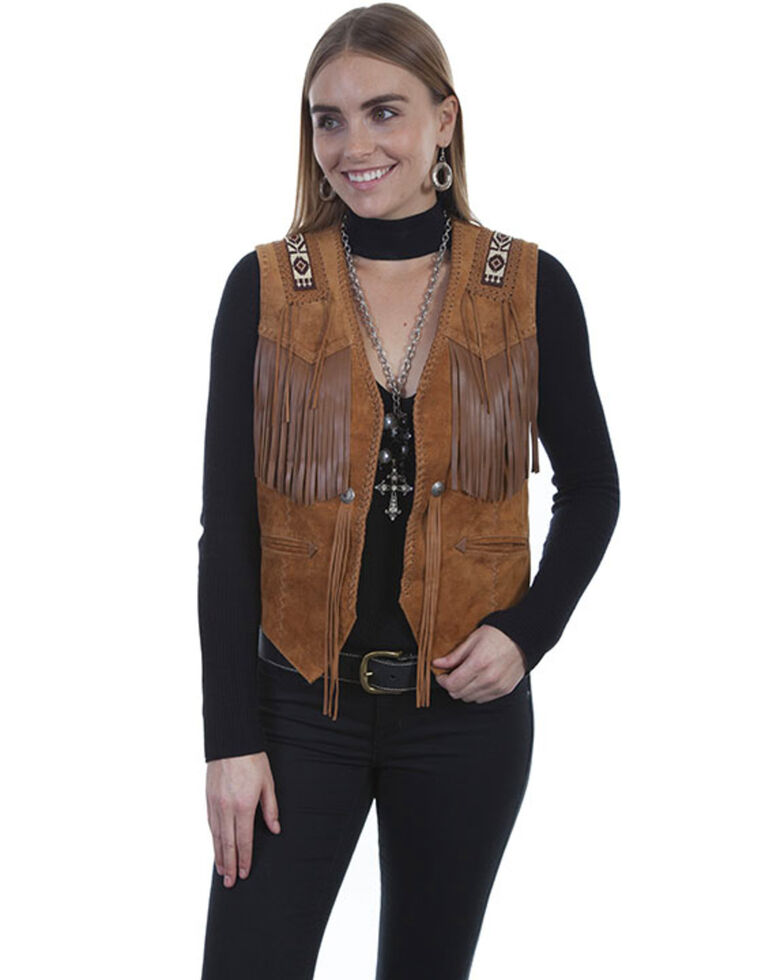 Leatherwear by Scully Women's Boar Suede Beaded Fringe Vest, Brown, hi-res