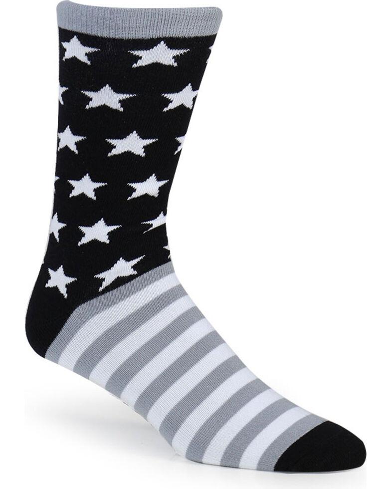 Cody James Men's Stars and Stripes Crew Socks, Black, hi-res