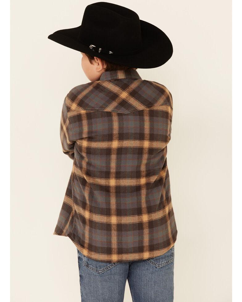 Roper Boys' Multi Plaid Flannel Long Sleeve Snap Western Shirt , Multi, hi-res