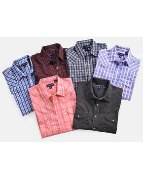 Panhandle Men's Plaid Snap Down Western Shirt - Assorted Colors, Multi, hi-res