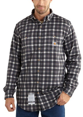 Carhartt Flame Resistant Classic Plaid Shirt - Big & Tall, Steel, hi-res