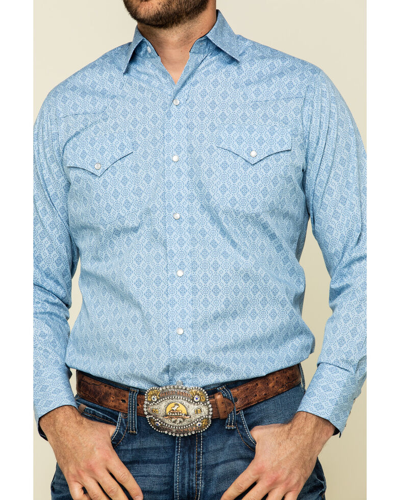 Ely Cattleman Men's Blue Small Geo Print Long Sleeve Western Shirt , Blue, hi-res