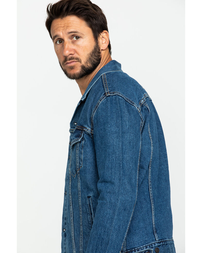 Levis Men's Medium Stonewash Denim Trucker Jacket , Indigo, hi-res