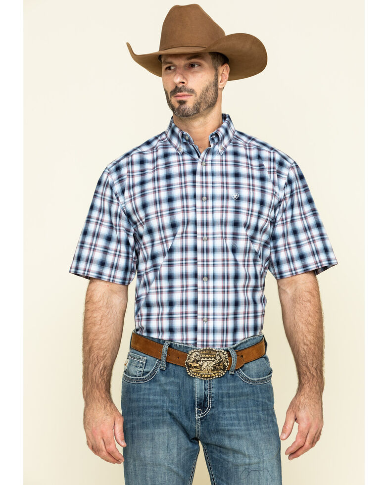 Ariat Men's Thompsonville Multi Plaid Short Sleeve Western Shirt , Multi, hi-res