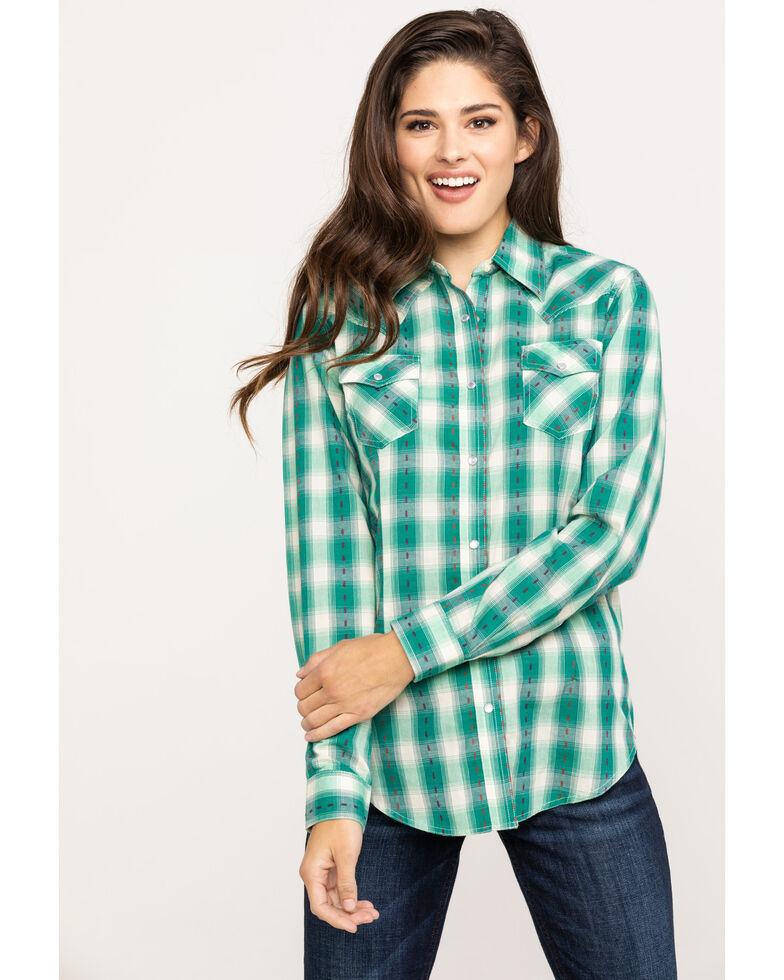Wrangler Women's Turquoise Dobby Plaid Long Sleeve Western Shirt, Turquoise, hi-res