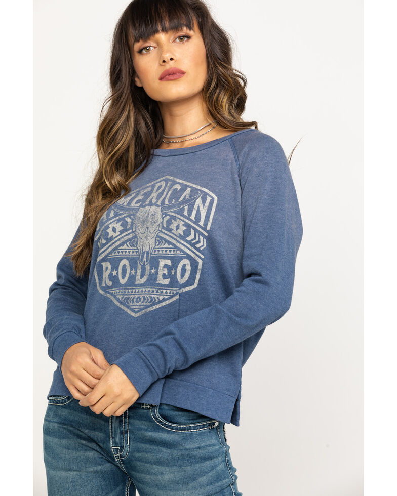 Rock & Roll Denim Women's Charcoal American Rodeo Pullover , Blue, hi-res