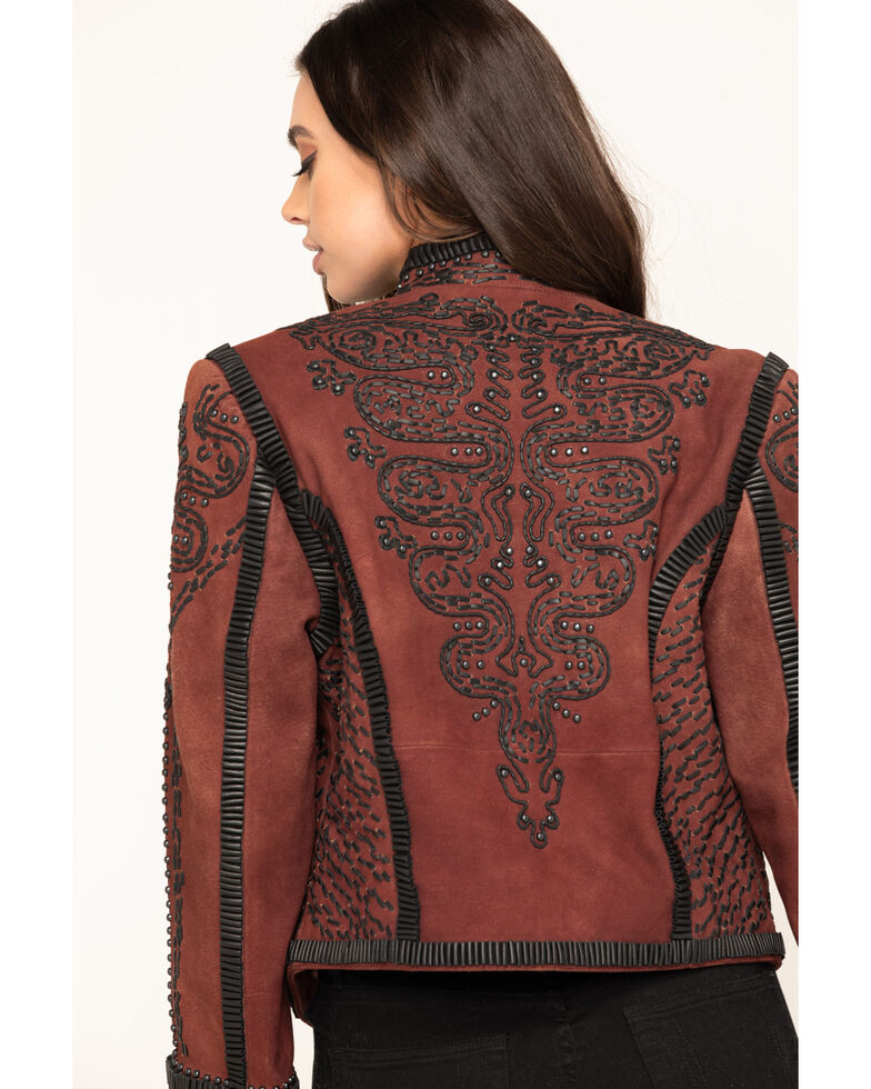 Double D Ranch Women's Oxblood Plaza Charro Jacket, Red, hi-res
