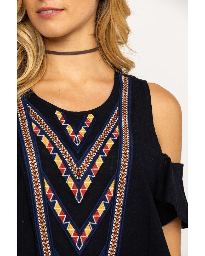 Shyanne Women's Black Embroidered Cold Shoulder Top, Black, hi-res