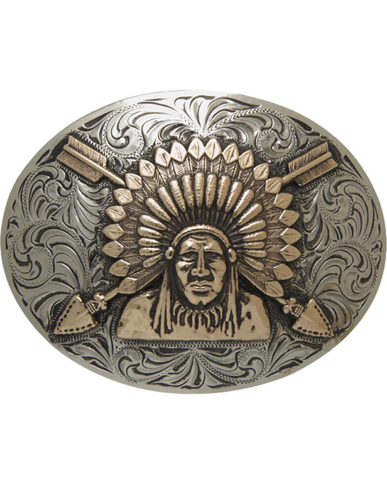 AndWest Men's Silver Sonoyta Vintage Indian Chief Buckle , Silver, hi-res