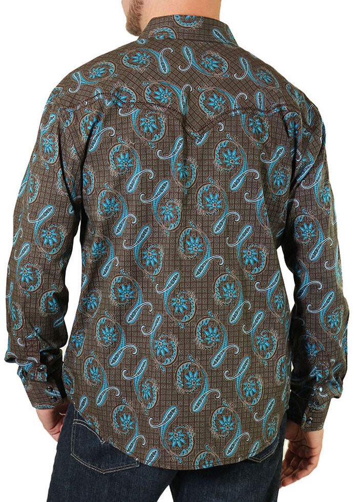 Moonshine Spirit Men's Copper Canyon Paisley Long Sleeve Western Shirt, Brown, hi-res