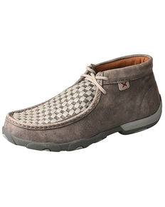 Twisted X Women's Weave Grey Moccasin Shoes - Moc Toe, Grey, hi-res