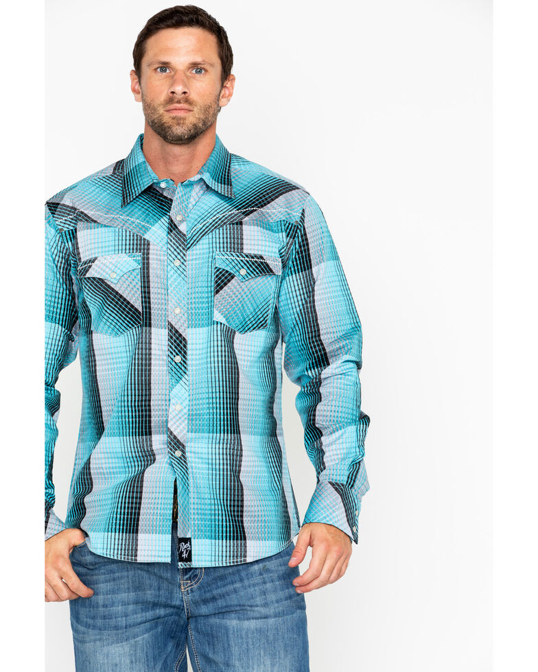Rock 47 by Wrangler Men's Fade Pattern Long Sleeve Western Shirt, Turquoise, hi-res