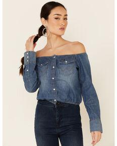 Wrangler Women's Americana Denim Off Shoulder Snap Long Sleeve Top, Blue, hi-res