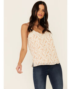 Miss Me Women's Floral Chiffon Lace Trimmed Cami Tank Top, Taupe, hi-res