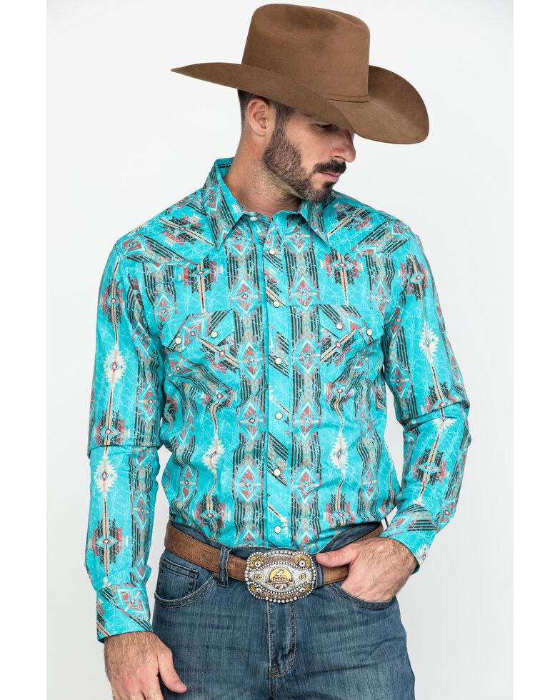 Rock & Roll Cowboy Men's Distressed Aztec Print Long Sleeve Western Shirt , Turquoise, hi-res