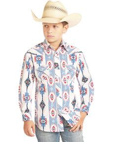 Rock & Roll Denim Boys' Blue Poplin Aztec Print Long Sleeve Western Shirt , Blue, hi-res