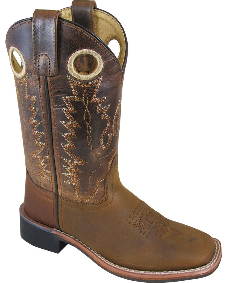 Smoky Mountain Boys' Jesse Western Boot - Square Toe , Brown, hi-res