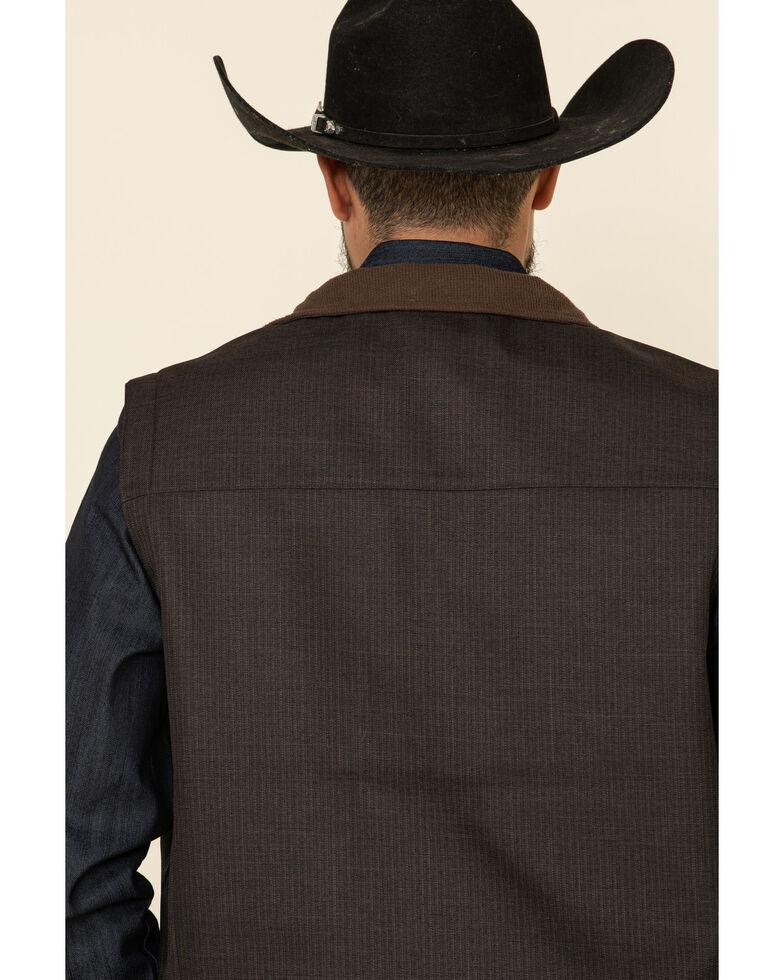 Cinch Men's Brown Solid Logo Textured Bonded Vest , Brown, hi-res