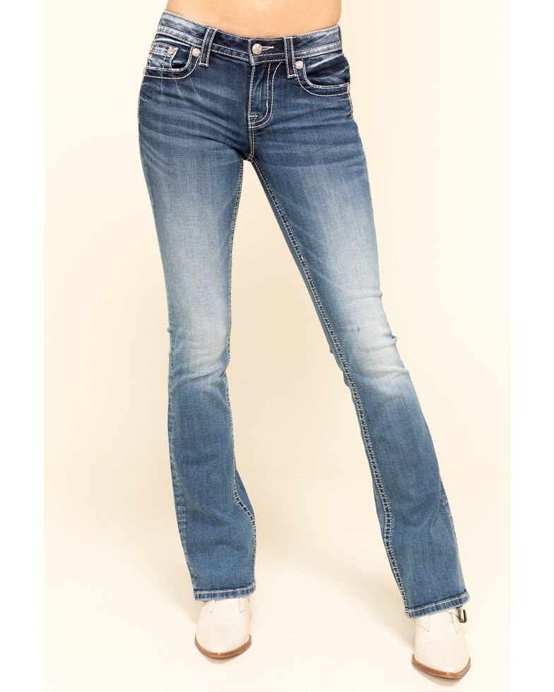 Miss Me Women's Cross Curved Chloe Bootcut Jeans, Blue, hi-res