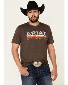 Ariat Men's Brown Heather Hills Logo Graphic T-Shirt , Medium Brown, hi-res