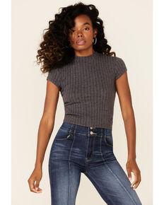 Rock & Roll Denim Women's Charcoal Ribbed Mock-Neck Short Sleeve Crop Top , Charcoal, hi-res