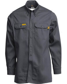 Lapco Men's FR 6oz. Gold Label Uniform Shirt - Tall, Grey, hi-res