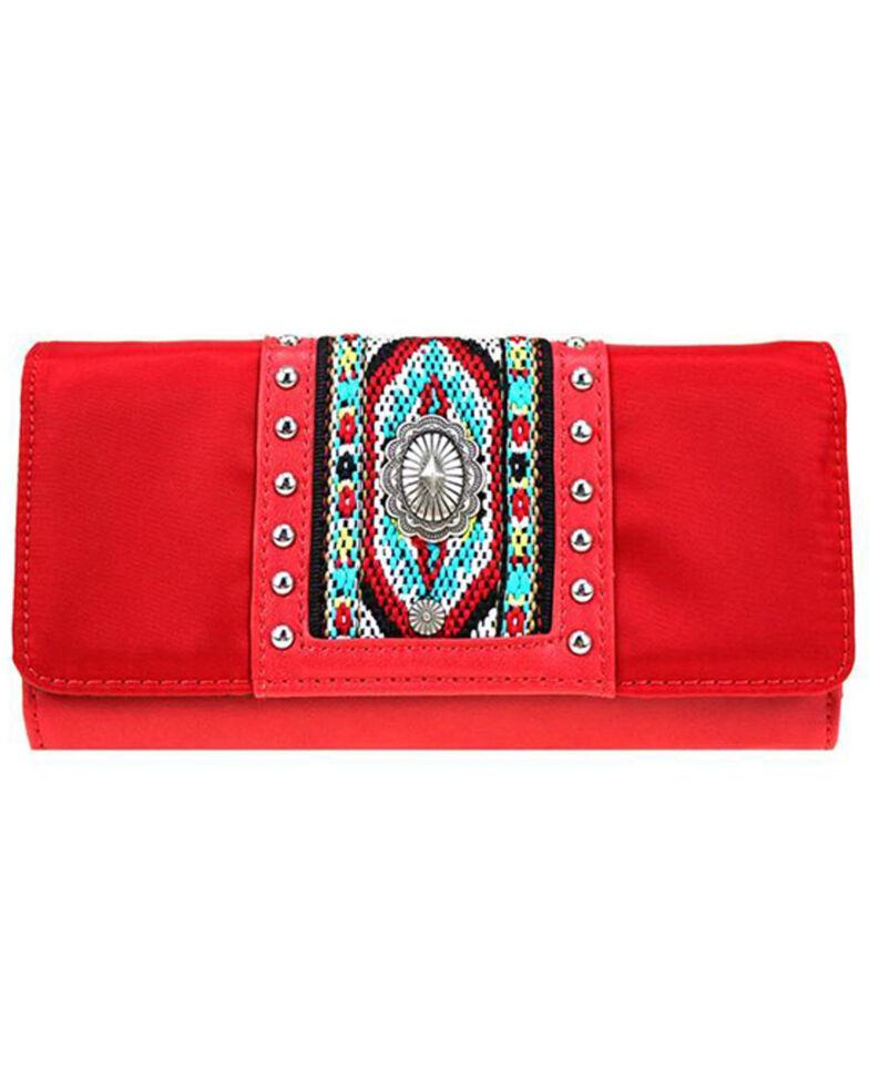 Montana West Women's Aztec Beaded Wallet, Red, hi-res