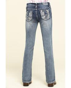 Grace in LA Girls' Light Wash Scattered Lines Bootcut Jeans, Blue, hi-res