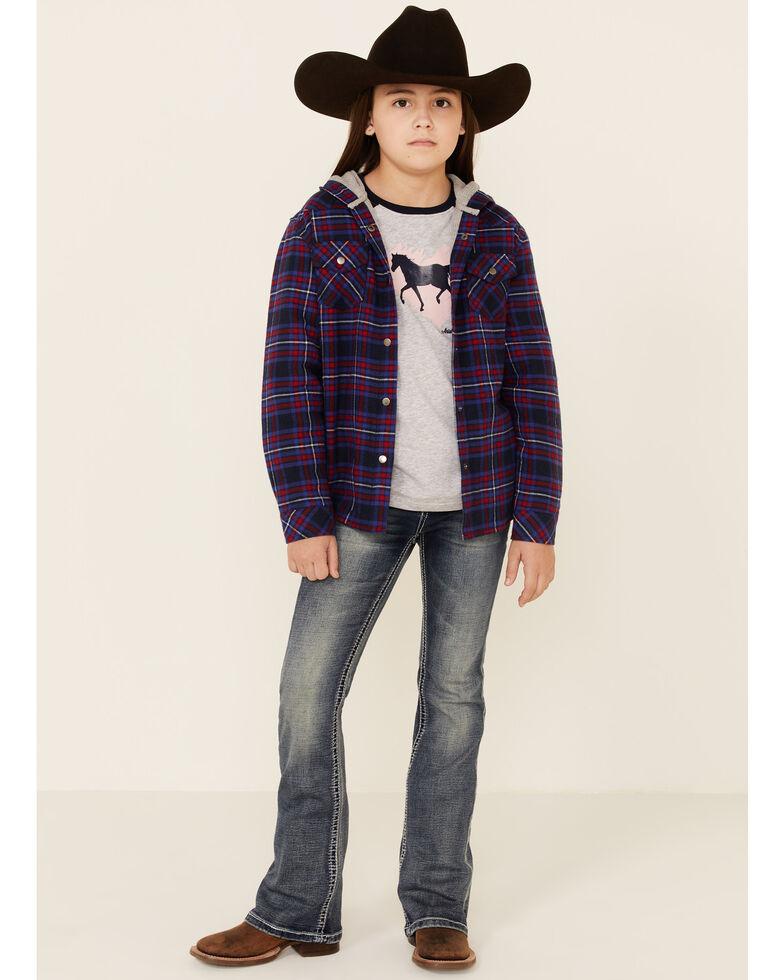 Roper Girls' Purple Plaid Flannel Snap Hooded Shirt Jacket , Purple, hi-res