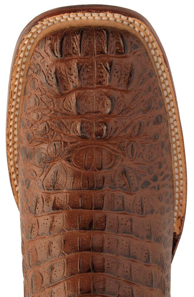 Ferrini Caiman Croc Print Cowboy Boots - Wide Square Toe, Rust, hi-res