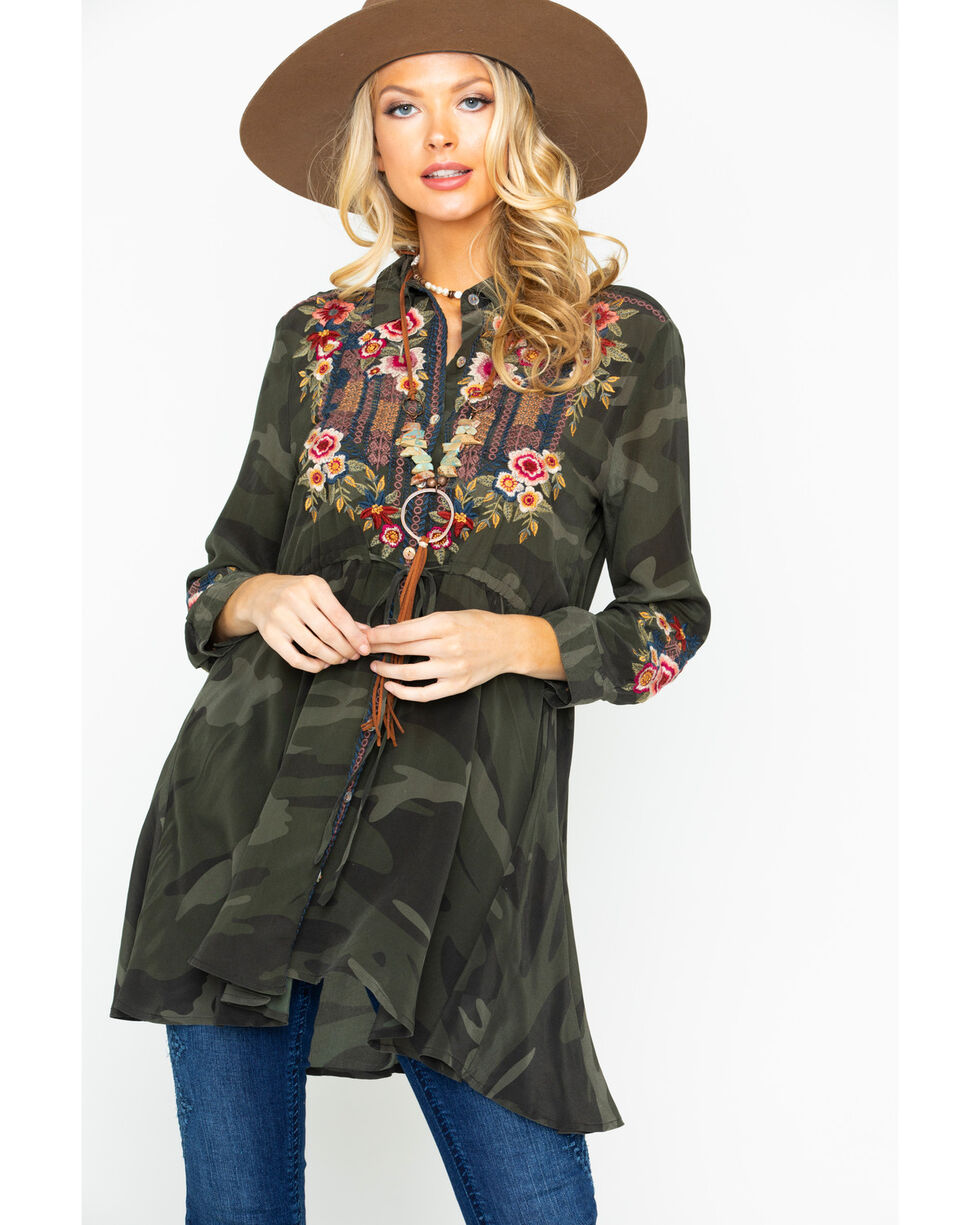 Johnny Was Women's Camo Aaliah Embroidered Drawstring Swing Top , Camouflage, hi-res