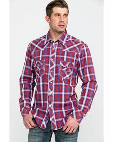 Rock & Roll Cowboy Men's Red Crinkle Plaid Long Sleeve Western Shirt , Red, hi-res