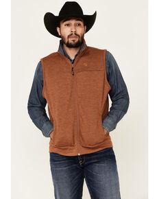 George Strait By Wrangler Men's Heather Brown Zip-Front Vest , Brown, hi-res