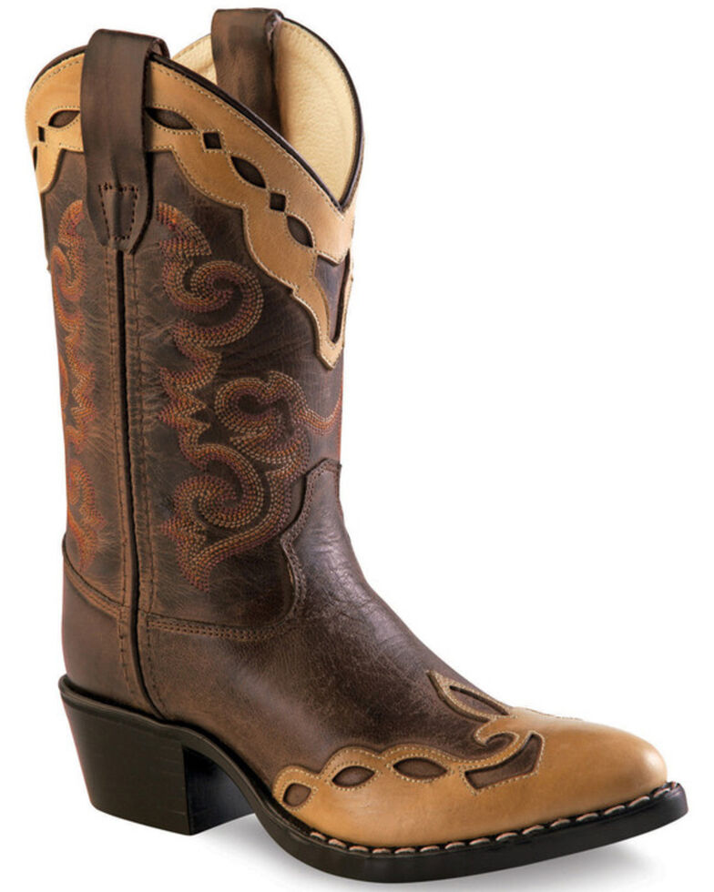 Old West Girls' Brown Overlay Childrens' Western Boots - Pointed Toe , Brown, hi-res