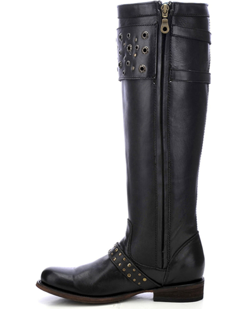 Corral Women's Eyelet Strap Harness Tall Boots - Round Toe, Black, hi-res