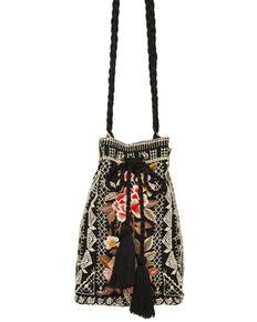 Johnny Was Women's Paola Drawstring Bucket Bag, Black, hi-res