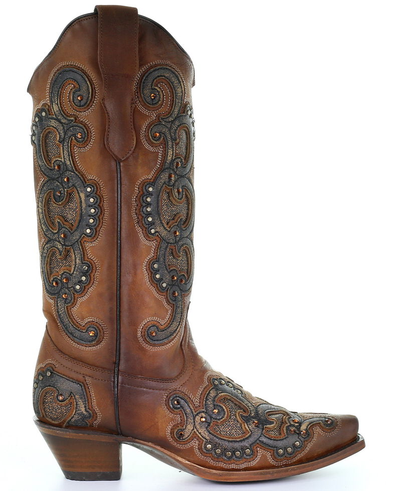 Corral Women's Honey Overlay Western Boots - Snip Toe, Brown, hi-res