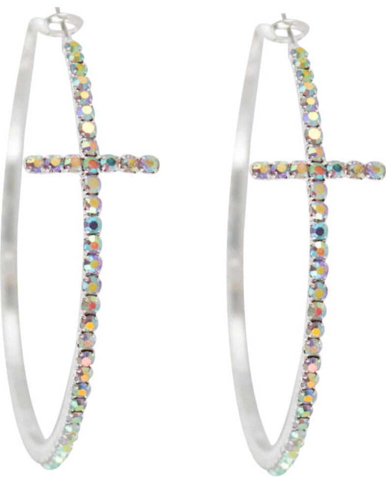 Shyanne Women's Rhinestone Cross Hoop Earrings, Silver, hi-res